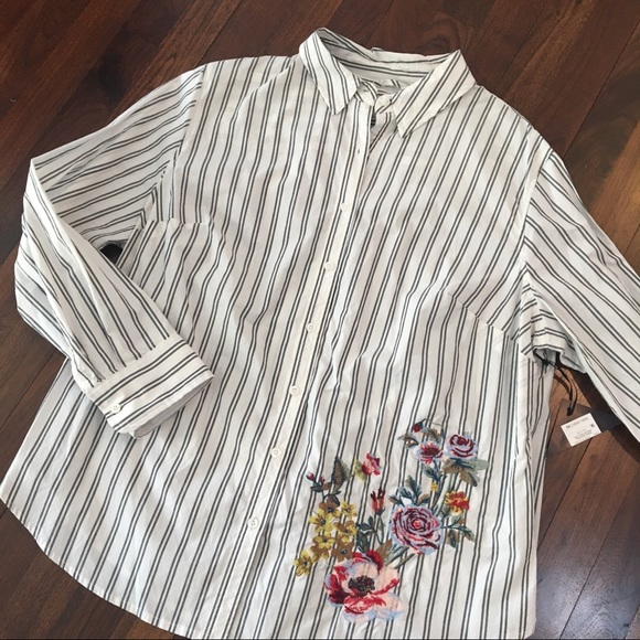5945f6dcde9fb2 Ava & Viv Tops | Nwt Ava Viv Stripe Floral Embroidery Button Up ...